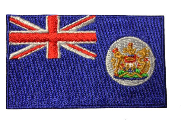 HONG KONG OLD BRITISH FLAG IRON ON PATCH CREST BADGE .. 1.5 X 2.5 INCHES ..NEW
