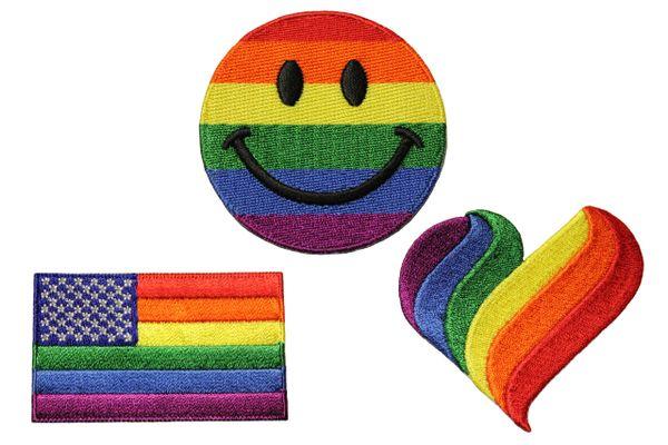 3 HAPPY SMILEY . USA.., HEART Shape ( Medium ) Set - LGBTQ Gay & Lesbian Rainbow Pride Flag Embroidered Iron - On PATCH CREST BADGES