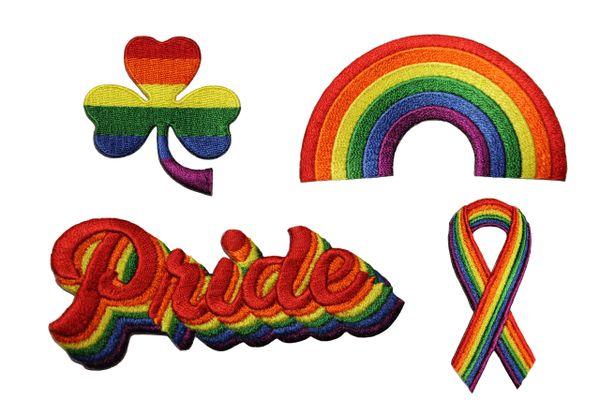 4 SHAMROCK Flower . RAINBOW Shape, PRIDE , RIBBON Set - LGBTQ Gay & Lesbian Rainbow Pride Flag Embroidered Iron - On PATCH CREST BADGES
