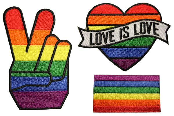 3 PEACE , LOVE IS LOVE, PRIDE Flag Set - LGBTQ Gay & Lesbian Rainbow Flag Embroidered Iron - On PATCH CREST BADGES