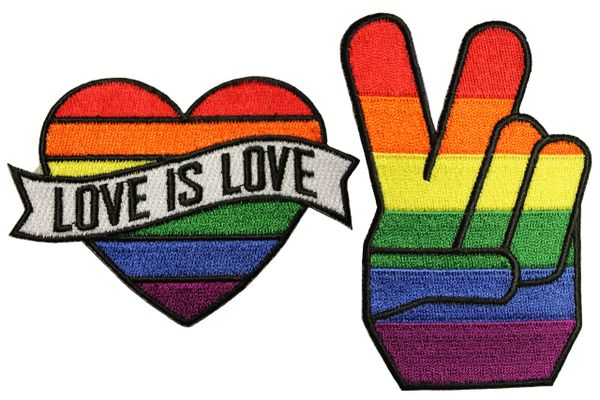 2 LOVE IS LOVE . PEACE Set - LGBTQ Gay & Lesbian Rainbow Flag Embroidered Iron - On PATCH CREST BADGES