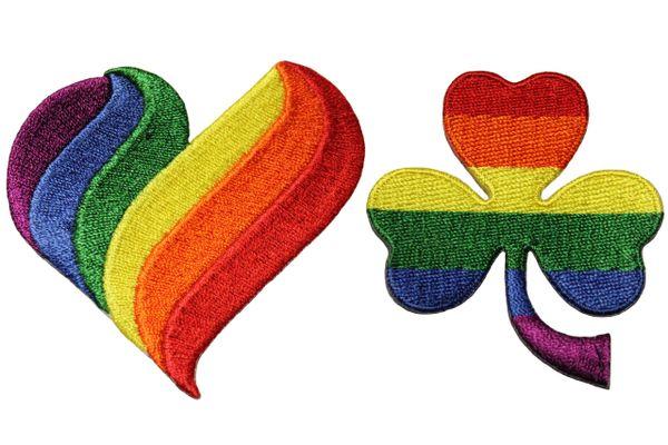 2 HEART Shape ( Medium ) . SHAMROCK Flower Set - LGBTQ Gay & Lesbian Rainbow Flag Embroidered Iron - On PATCH CREST BADGES