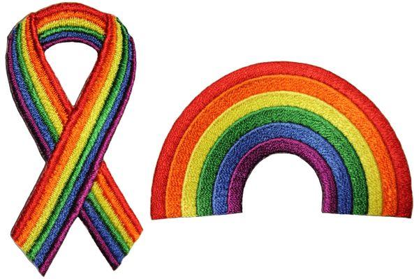 2 RIBBON . RAINBOW Shape Set - LGBTQ Gay & Lesbian Rainbow Flag Embroidered Iron - On PATCH CREST BADGES