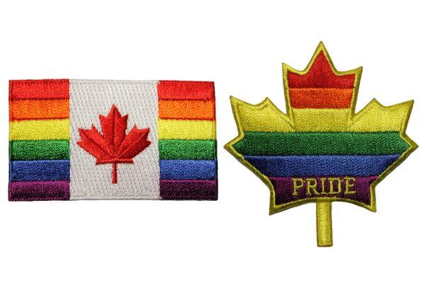 2 CANADA .., PRIDE - MAPLE LEAF Set - LGBTQ Gay & Lesbian Rainbow Flag Embroidered Iron - On PATCH CREST BADGES