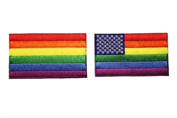 2 PRIDE Flag .., USA.., Set - LGBTQ Gay & Lesbian Rainbow Flag Embroidered Iron - On PATCH CREST BADGES
