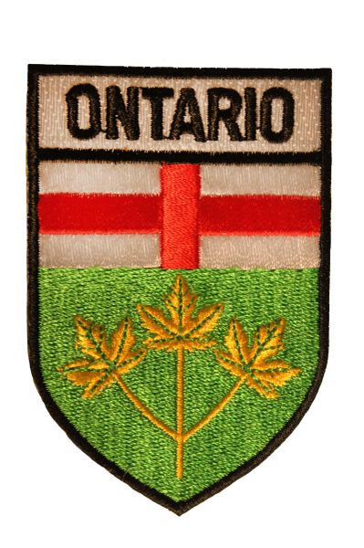ONTARIO Shield Shape With Black Trim Flag Iron - On PATCH CREST BADGE