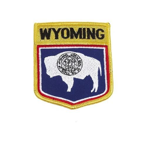 """WYOMING USA STATE SHIELD FLAG IRON ON PATCH CREST BADGE .. SIZE : 3.5"""" X 3"""" INCHES .. NEW"""