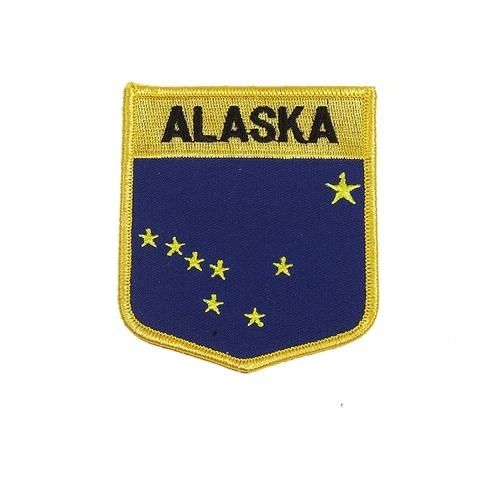 "ALASKA USA STATE SHIELD FLAG IRON ON PATCH CREST BADGE .. SIZE : 3.5"" X 3"" INCHES .. NEW"