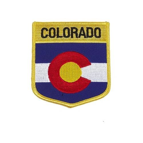 "COLORADO USA STATE SHIELD FLAG IRON ON PATCH CREST BADGE .. SIZE : 3.5"" X 3"" INCHES .. NEW"