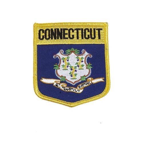 """CONNECTICUT USA STATE SHIELD FLAG IRON ON PATCH CREST BADGE .. SIZE : 3.5"""" X 3"""" INCHES .. NEW"""