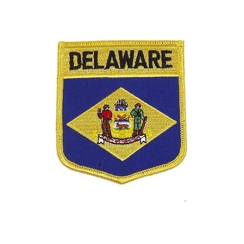 "DELAWARE USA STATE SHIELD FLAG IRON ON PATCH CREST BADGE .. SIZE : 3.5"" X 3"" INCHES .. NEW"