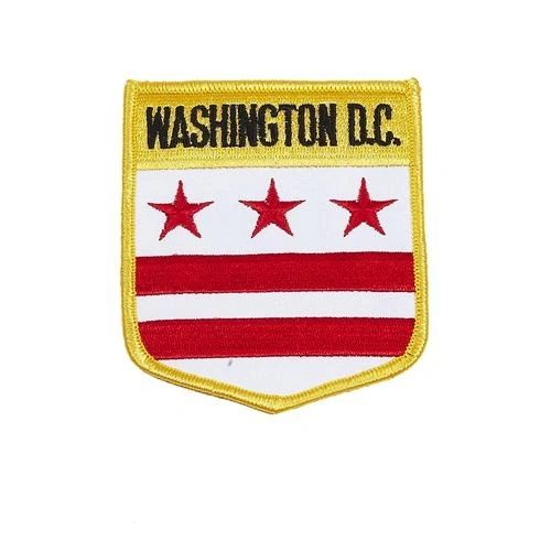 "WASHINGTON DISTRICT OF COLUMBIA USA STATE SHIELD FLAG IRON ON PATCH CREST BADGE .. SIZE : 3.5"" X 3"" INCHES .. NEW"