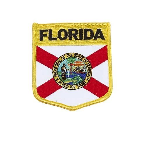 "FLORIDA USA STATE SHIELD FLAG IRON ON PATCH CREST BADGE .. SIZE : 3.5"" X 3"" INCHES .. NEW"