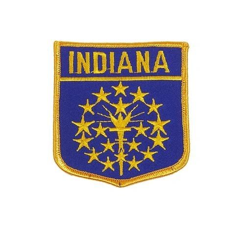 "INDIANA USA STATE SHIELD FLAG IRON ON PATCH CREST BADGE .. SIZE : 3.5"" X 3"" INCHES .. NEW"