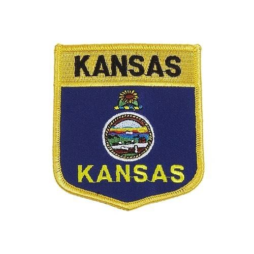 "KANSAS USA STATE SHIELD FLAG IRON ON PATCH CREST BADGE .. SIZE : 3.5"" X 3"" INCHES .. NEW"
