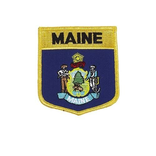 "MAINE USA STATE SHIELD FLAG IRON ON PATCH CREST BADGE .. SIZE : 3.5"" X 3"" INCHES .. NEW"