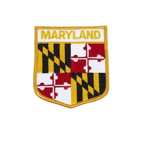 "MARYLAND USA STATE SHIELD FLAG IRON ON PATCH CREST BADGE .. SIZE : 3.5"" X 3"" INCHES .. NEW"