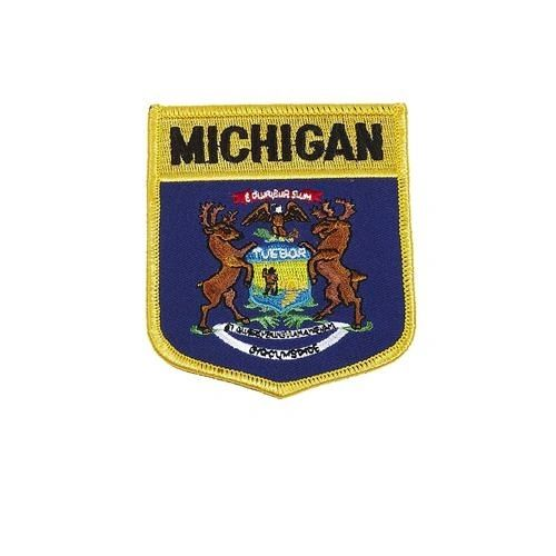 "MICHIGAN USA STATE SHIELD FLAG IRON ON PATCH CREST BADGE .. SIZE : 3.5"" X 3"" INCHES .. NEW"