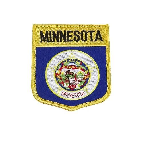 "MINNESOTA USA STATE SHIELD FLAG IRON ON PATCH CREST BADGE .. SIZE : 3.5"" X 3"" INCHES .. NEW"