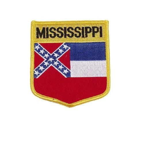 "MISSISSIPPI USA STATE SHIELD FLAG IRON ON PATCH CREST BADGE .. SIZE : 3.5"" X 3"" INCHES .. NEW"