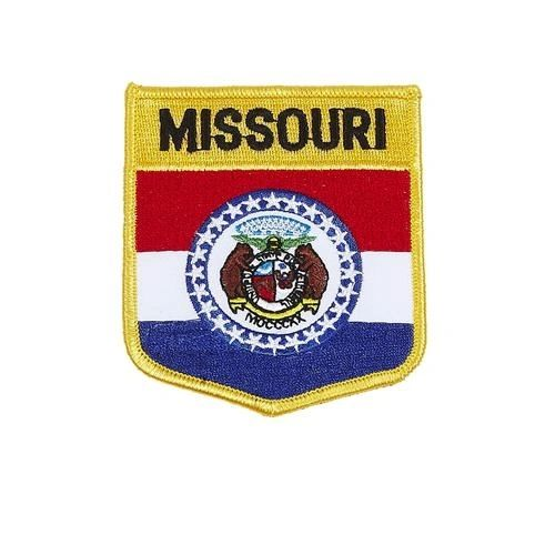 "MISSOURI USA STATE SHIELD FLAG IRON ON PATCH CREST BADGE .. SIZE : 3.5"" X 3"" INCHES .. NEW"
