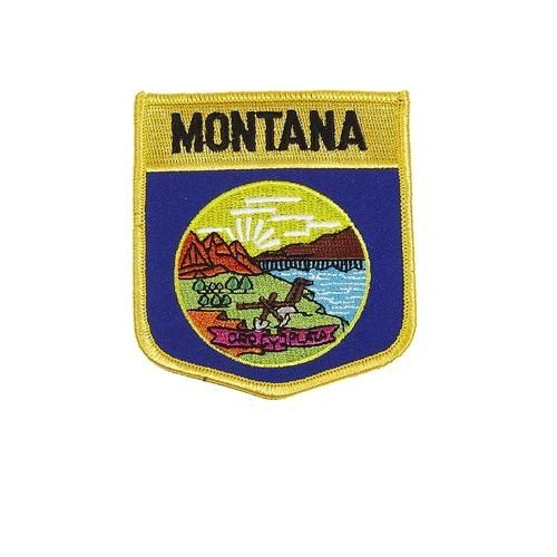 "MONTANA USA STATE SHIELD FLAG IRON ON PATCH CREST BADGE .. SIZE : 3.5"" X 3"" INCHES .. NEW"