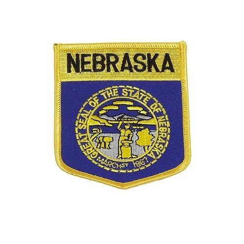 """NEBRASKA USA STATE SHIELD FLAG IRON ON PATCH CREST BADGE .. SIZE : 3.5"""" X 3"""" INCHES .. NEW"""