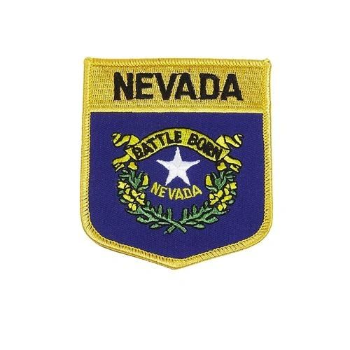 "NEVADA USA STATE SHIELD FLAG IRON ON PATCH CREST BADGE .. SIZE : 3.5"" X 3"" INCHES .. NEW"