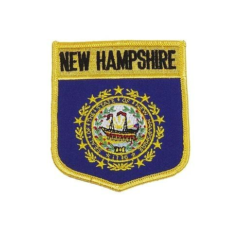 "NEW HAMPSHIRE USA STATE SHIELD FLAG IRON ON PATCH CREST BADGE .. SIZE : 3.5"" X 3"" INCHES .. NEW"