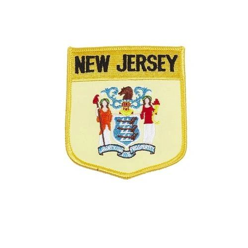 """NEW JERSEY USA STATE SHIELD FLAG IRON ON PATCH CREST BADGE .. SIZE : 3.5"""" X 3"""" INCHES .. NEW"""