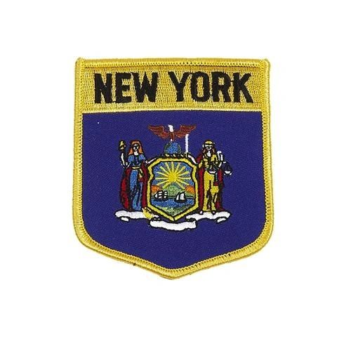 "NEW YORK USA STATE SHIELD FLAG IRON ON PATCH CREST BADGE .. SIZE : 3.5"" X 3"" INCHES .. NEW"
