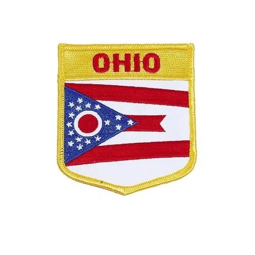 "OHIO USA STATE SHIELD FLAG IRON ON PATCH CREST BADGE .. SIZE : 3.5"" X 3"" INCHES .. NEW"
