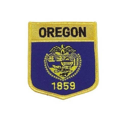 "OREGON USA STATE SHIELD FLAG IRON ON PATCH CREST BADGE .. SIZE : 3.5"" X 3"" INCHES .. NEW"