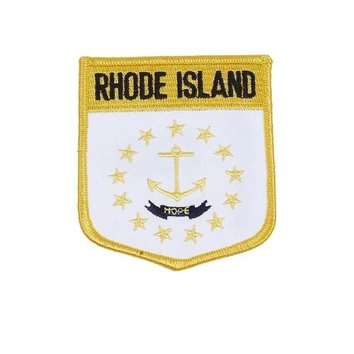 "RHODE ISLAND USA STATE SHIELD FLAG IRON ON PATCH CREST BADGE .. SIZE : 3.5"" X 3"" INCHES .. NEW"