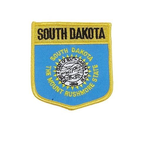 "SOUTH DAKOTA USA STATE SHIELD FLAG IRON ON PATCH CREST BADGE .. SIZE : 3.5"" X 3"" INCHES .. NEW"