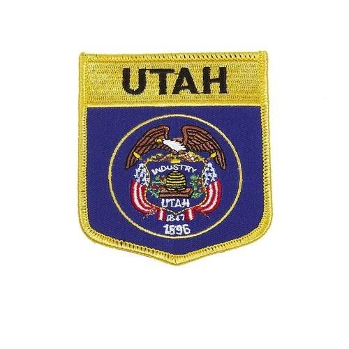 "UTAH USA STATE SHIELD FLAG IRON ON PATCH CREST BADGE .. SIZE : 3.5"" X 3"" INCHES .. NEW"