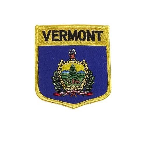 "VERMONT USA STATE SHIELD FLAG IRON ON PATCH CREST BADGE .. SIZE : 3.5"" X 3"" INCHES .. NEW"