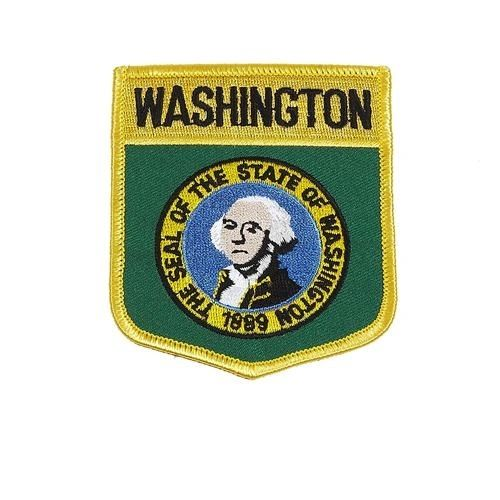 "WASHINGTON USA STATE SHIELD FLAG IRON ON PATCH CREST BADGE .. SIZE : 3.5"" X 3"" INCHES .. NEW"