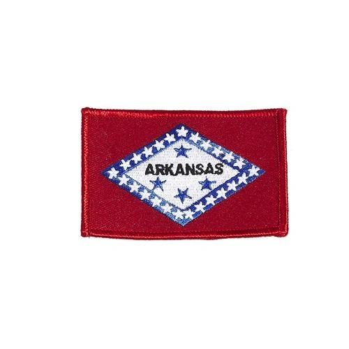 "ARKANSAS USA STATE SQUARE FLAG IRON ON PATCH CREST BADGE .. SIZE : 2.3"" X 3.25"" INCHES .. NEW"