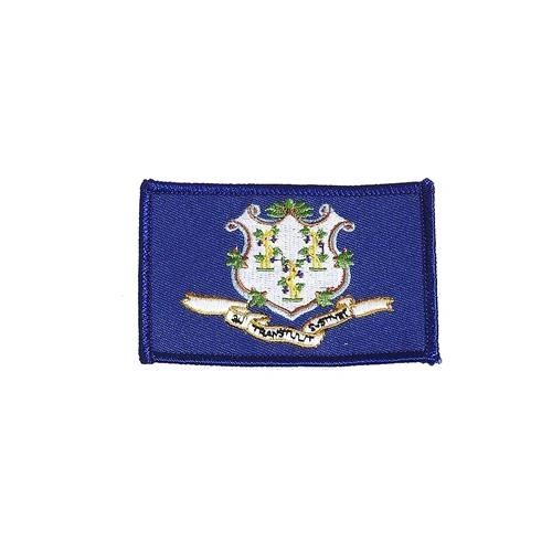 "CONNECTICUT USA STATE SQUARE FLAG IRON ON PATCH CREST BADGE .. SIZE : 2.3"" X 3.25"" INCHES .. NEW"