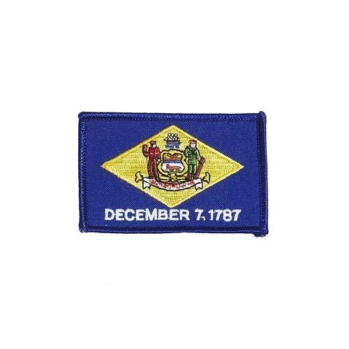 "DELAWARE USA STATE SQUARE FLAG IRON ON PATCH CREST BADGE .. SIZE : 2.3"" X 3.25"" INCHES .. NEW"