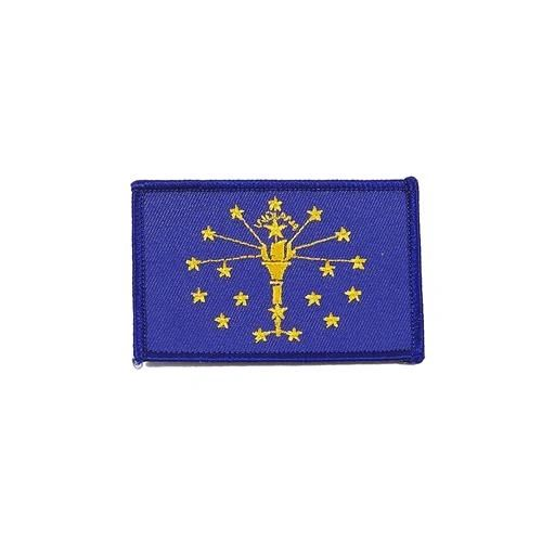 """INDIANA USA STATE SQUARE FLAG IRON ON PATCH CREST BADGE .. SIZE : 2.3"""" X 3.25"""" INCHES .. NEW"""