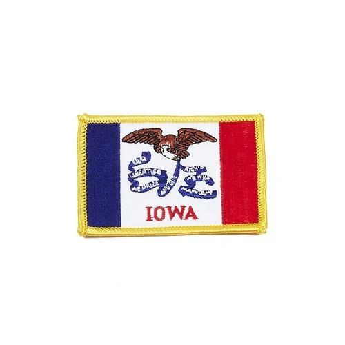 "IOWA USA STATE SQUARE FLAG IRON ON PATCH CREST BADGE .. SIZE : 2.3"" X 3.25"" INCHES .. NEW"