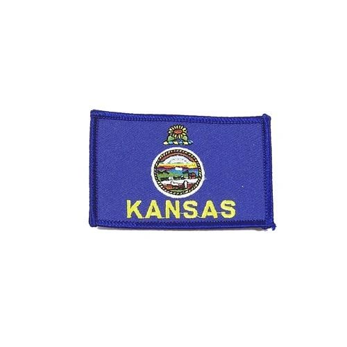 """KANSAS USA STATE SQUARE FLAG IRON ON PATCH CREST BADGE .. SIZE : 2.3"""" X 3.25"""" INCHES .. NEW"""