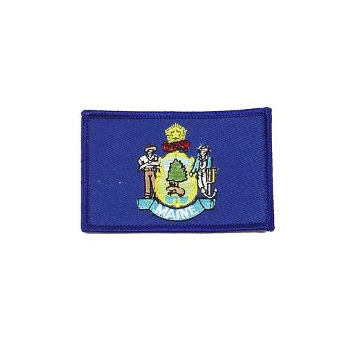 "MAINE USA STATE SQUARE FLAG IRON ON PATCH CREST BADGE .. SIZE : 2.3"" X 3.25"" INCHES .. NEW"