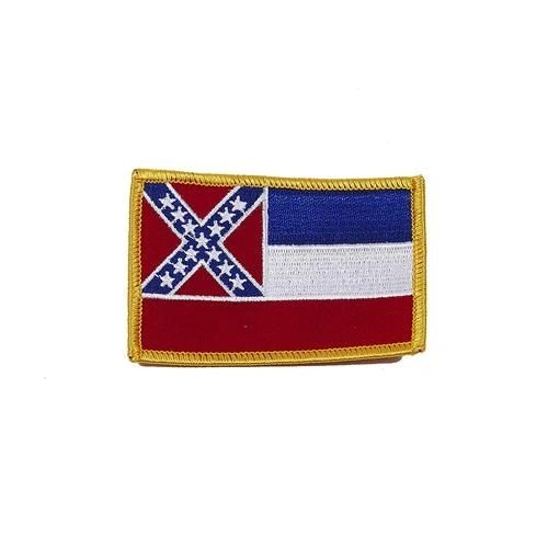 "MISSISSIPPI USA STATE SQUARE FLAG IRON ON PATCH CREST BADGE .. SIZE : 2.3"" X 3.25"" INCHES .. NEW"