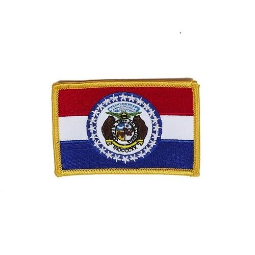 """MISSOURI USA STATE SQUARE FLAG IRON ON PATCH CREST BADGE .. SIZE : 2.3"""" X 3.25"""" INCHES .. NEW"""