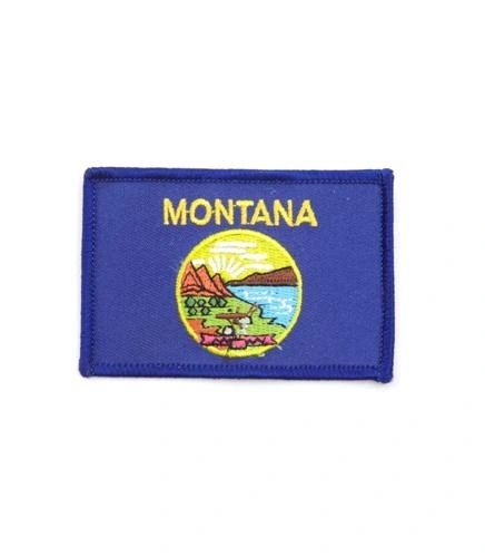 """MONTANA USA STATE SQUARE FLAG IRON ON PATCH CREST BADGE .. SIZE : 2.3"""" X 3.25"""" INCHES .. NEW"""