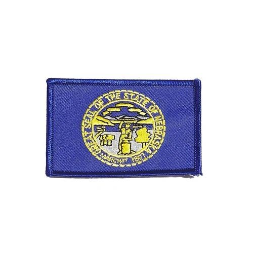 """NEBRASKA USA STATE SQUARE FLAG IRON ON PATCH CREST BADGE .. SIZE : 2.3"""" X 3.25"""" INCHES .. NEW"""