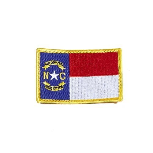 "NORTH CAROLINA USA STATE SQUARE FLAG IRON ON PATCH CREST BADGE .. SIZE : 2.3"" X 3.25"" INCHES .. NEW"